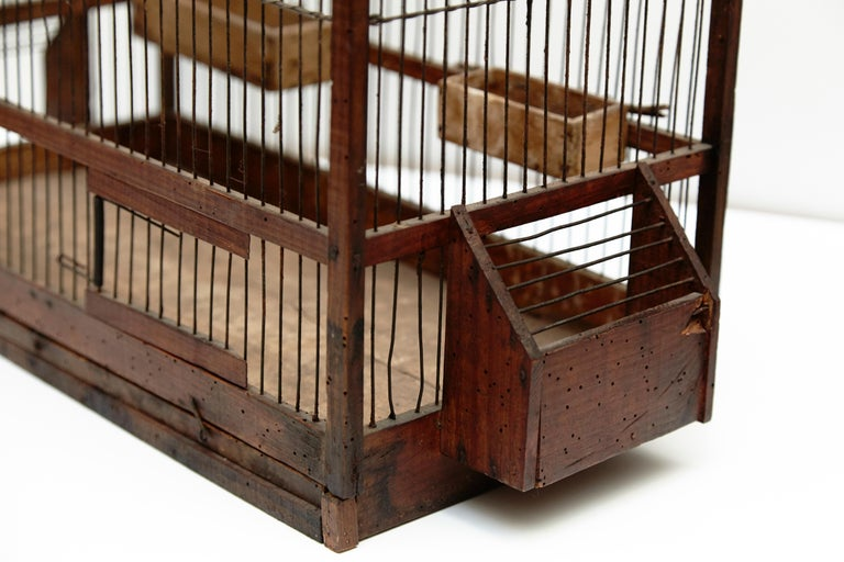 Wood Popular Traditional Bird Cage in Wood and Metal from France, circa 1930 For Sale 4