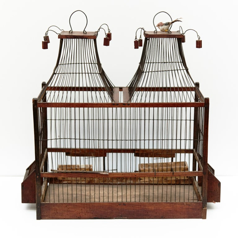 Wood Popular Traditional Bird Cage in Wood and Metal from France, circa 1930 For Sale 5