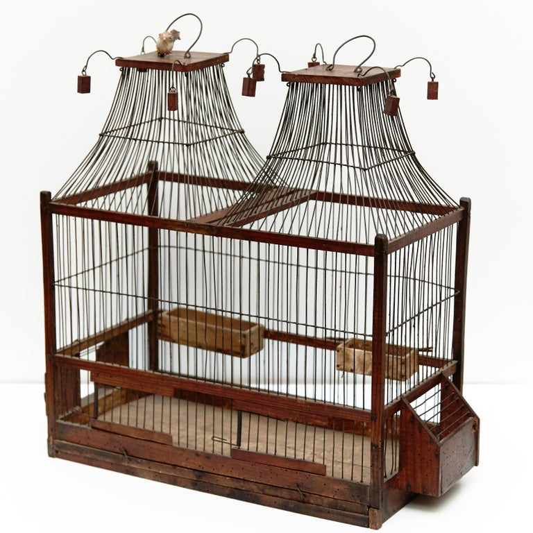 Mid-Century Modern Wood Popular Traditional Bird Cage in Wood and Metal from France, circa 1930 For Sale