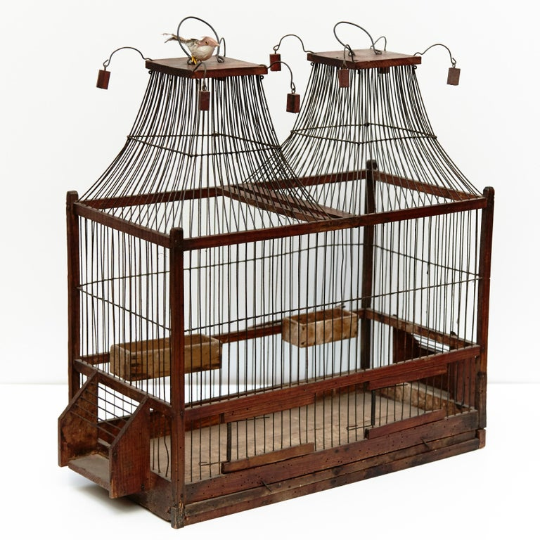 French Wood Popular Traditional Bird Cage in Wood and Metal from France, circa 1930 For Sale