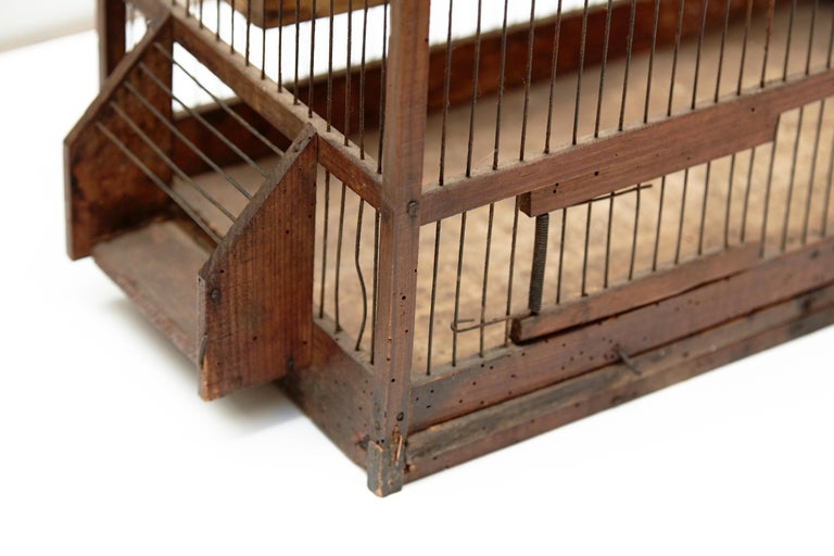 Mid-20th Century Wood Popular Traditional Bird Cage in Wood and Metal from France, circa 1930 For Sale