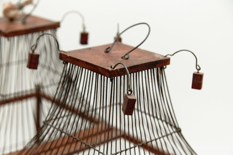Wood Popular Traditional Bird Cage in Wood and Metal from France, circa 1930 For Sale 1