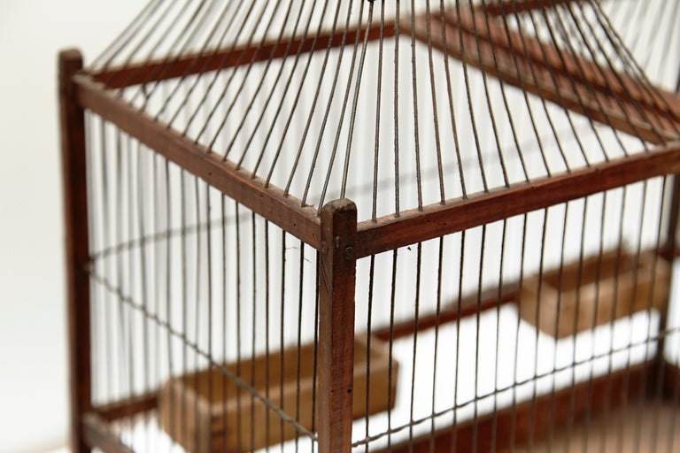 Wood Popular Traditional Bird Cage in Wood and Metal from France, circa 1930 For Sale 2