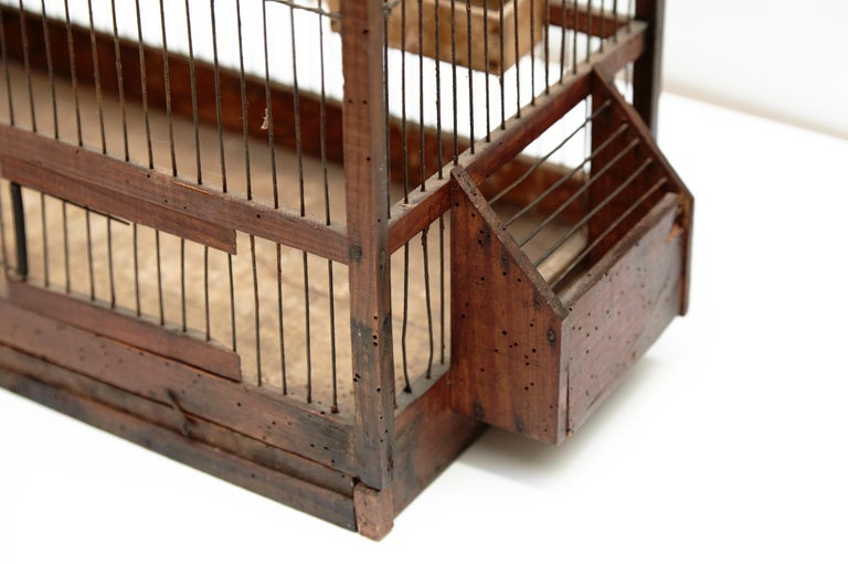 Wood Popular Traditional Bird Cage in Wood and Metal from France, circa 1930 For Sale 3