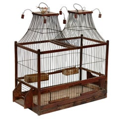 Wood Popular Traditional Bird Cage in Wood and Metal from France, circa 1930