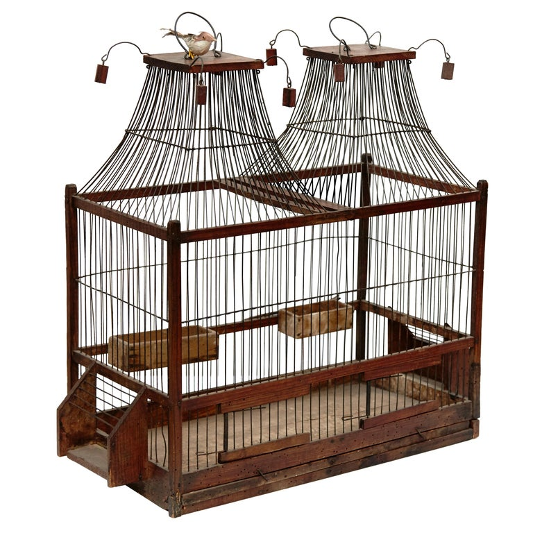 Wood Popular Traditional Bird Cage in Wood and Metal from France, circa 1930 For Sale