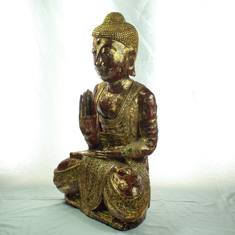 Arts and Crafts Wood Precious Stones Emeralds Ruby Medicine Buddha Meditation Sculpture For Sale
