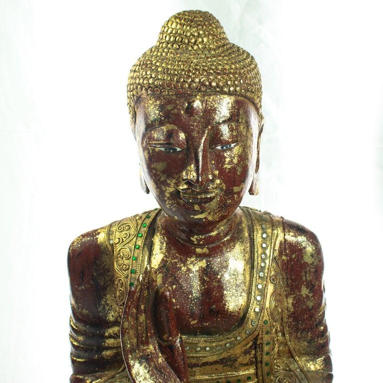 Hand-Carved Wood Precious Stones Emeralds Ruby Medicine Buddha Meditation Sculpture For Sale