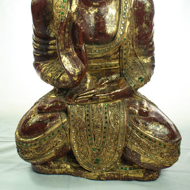 Wood Precious Stones Emeralds Ruby Medicine Buddha Meditation Sculpture In Excellent Condition For Sale In Milano, IT