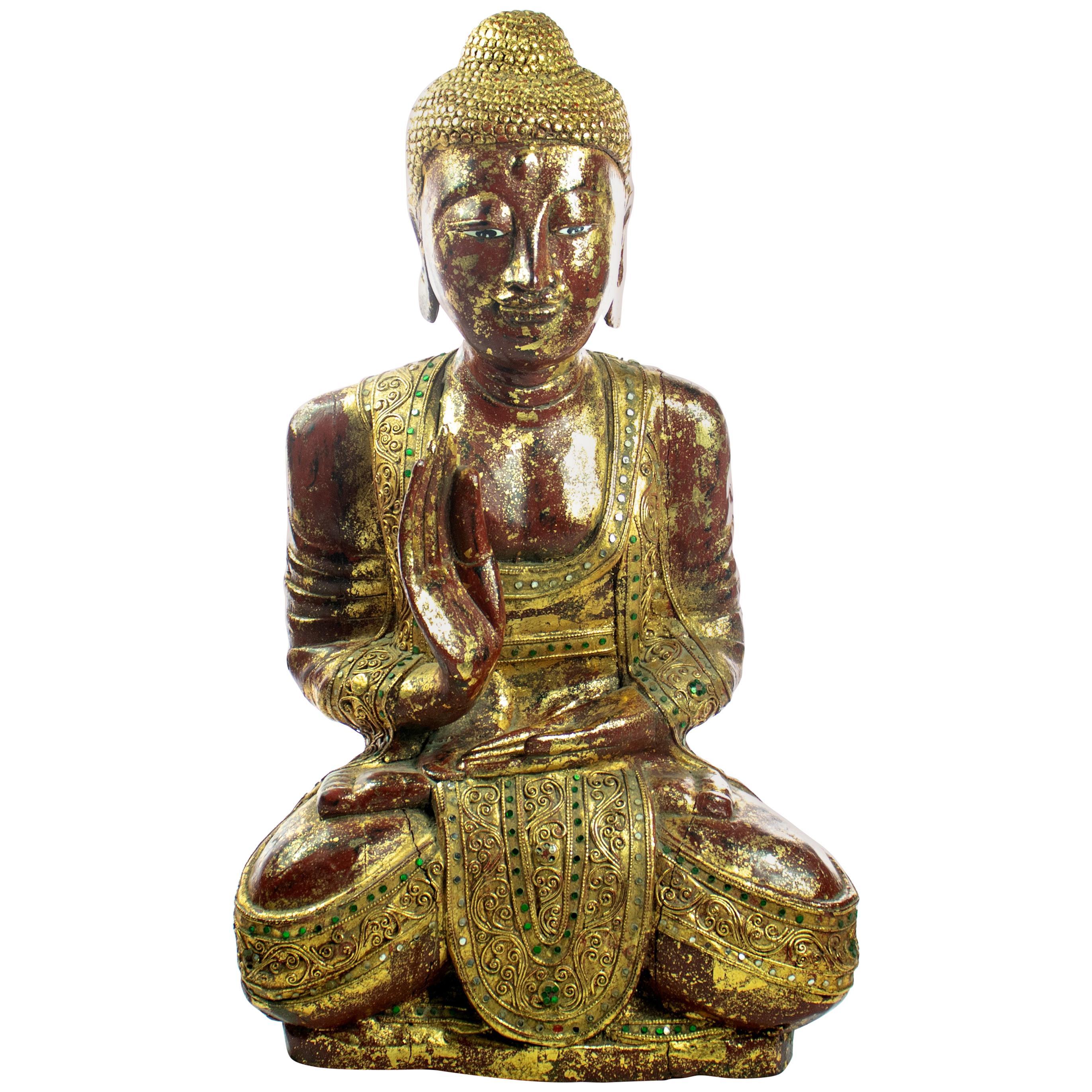 Wood Precious Stones Emeralds Ruby Medicine Buddha Meditation Sculpture