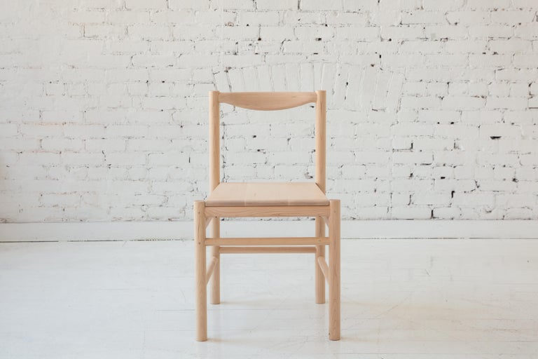 Wood Range Dining Chair in Hard Maple by Fort Standard, in Stock In New Condition For Sale In Brooklyn, NY