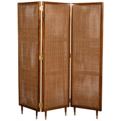 Wood, Rattan and Bronze Screen by Englander & Bonta, Argentina, circa 1950