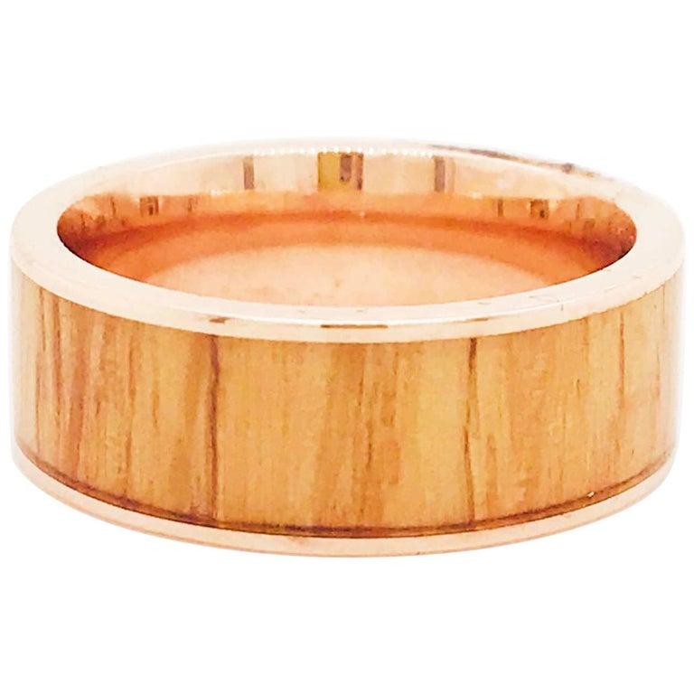 Wood Rose Gold Men's Band, Modern Red Oak Wood 14 Karat Rose Gold Men's Band For Sale