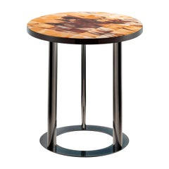 Wood Round Side Table