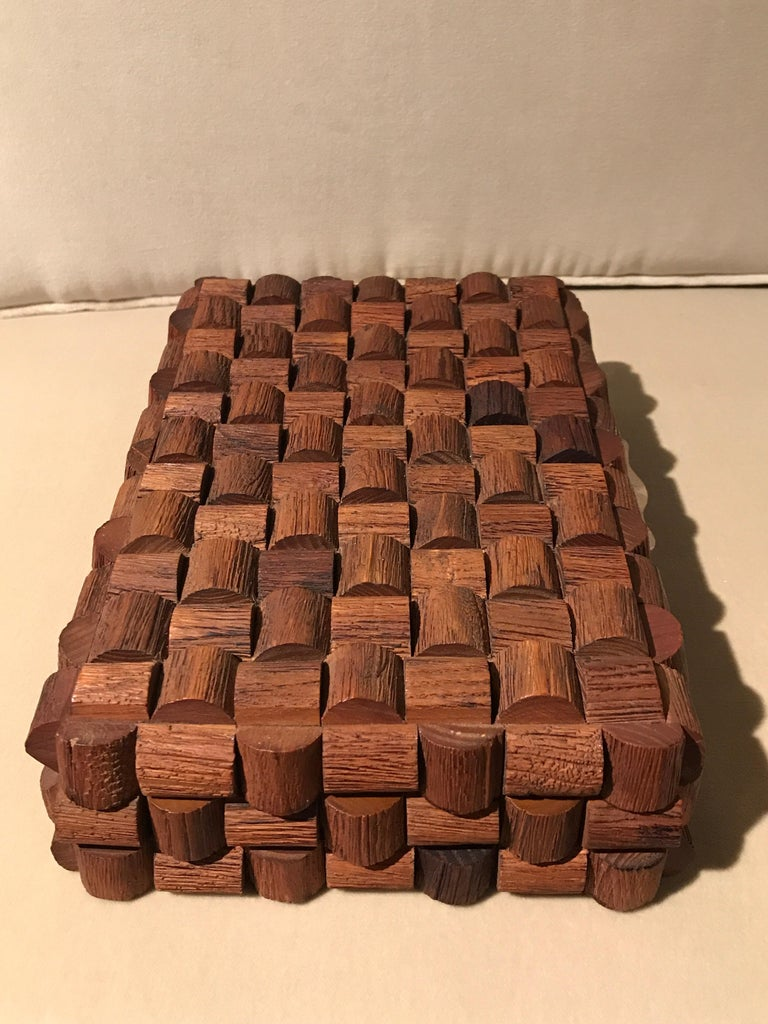 Mid-Century Modern Wood Sculptural Box For Sale