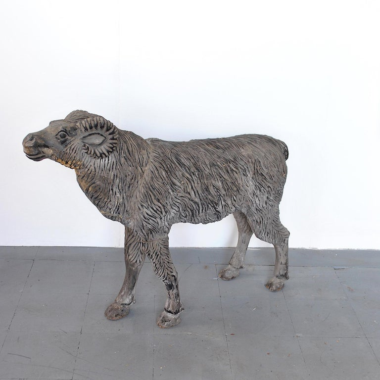 Mid-Century Modern Wood Sculpture Depicting a Mutton For Sale