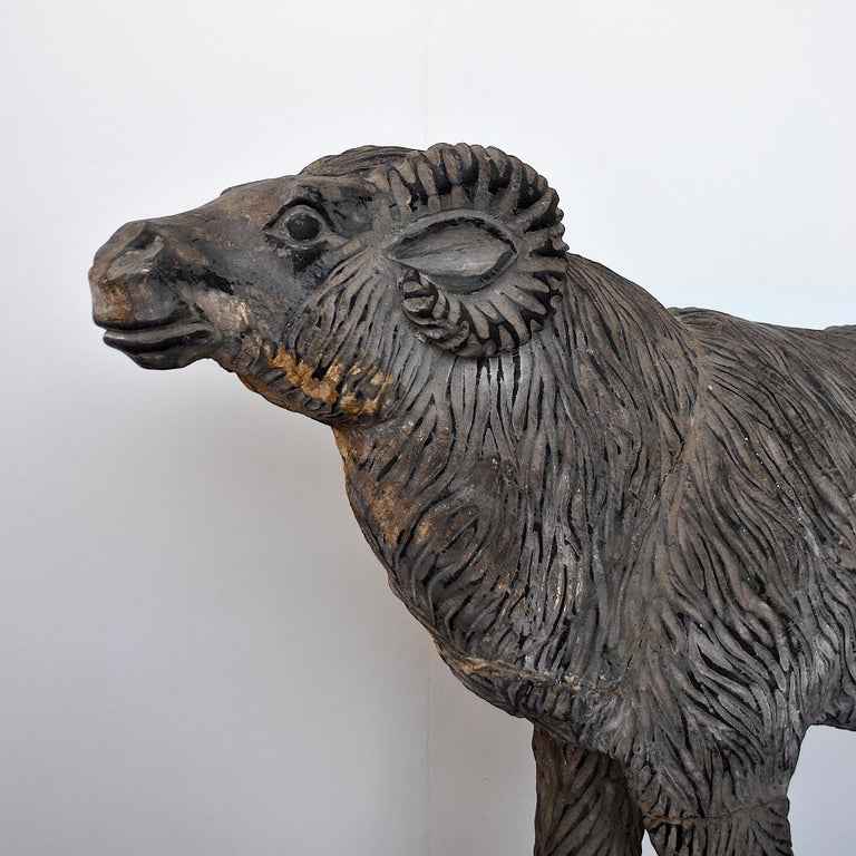 Italian Wood Sculpture Depicting a Mutton For Sale