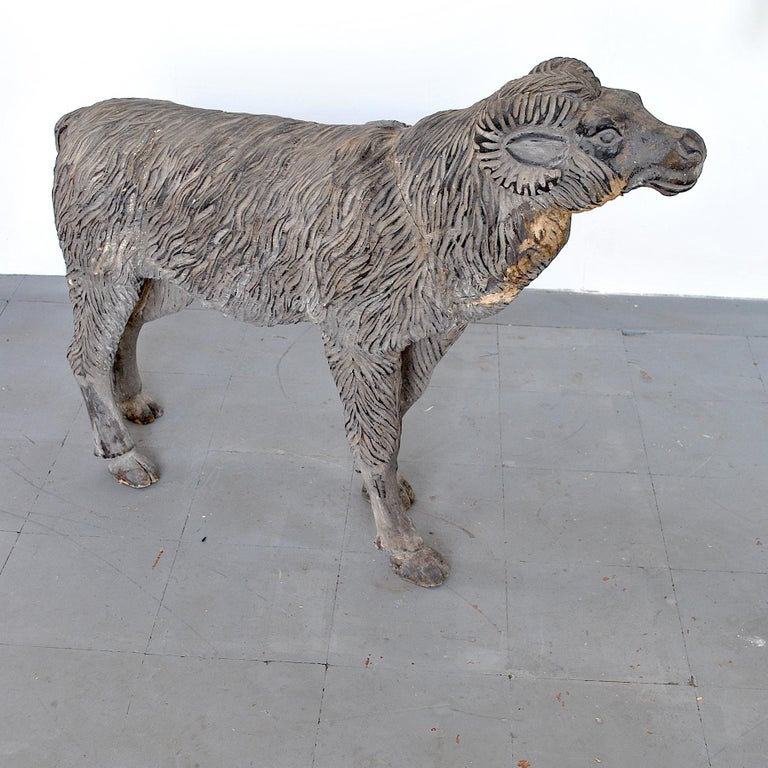 Mid-20th Century Wood Sculpture Depicting a Mutton For Sale