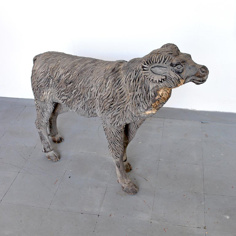 Wood Sculpture Depicting a Mutton For Sale 1