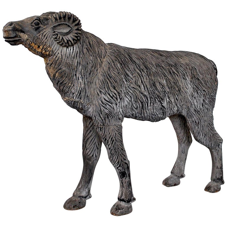 Wood Sculpture Depicting a Mutton For Sale