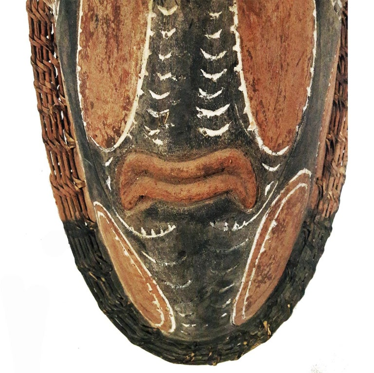 Hand-Carved Wood Sepik Mask, Murik Lakes, Papua New Guinea For Sale