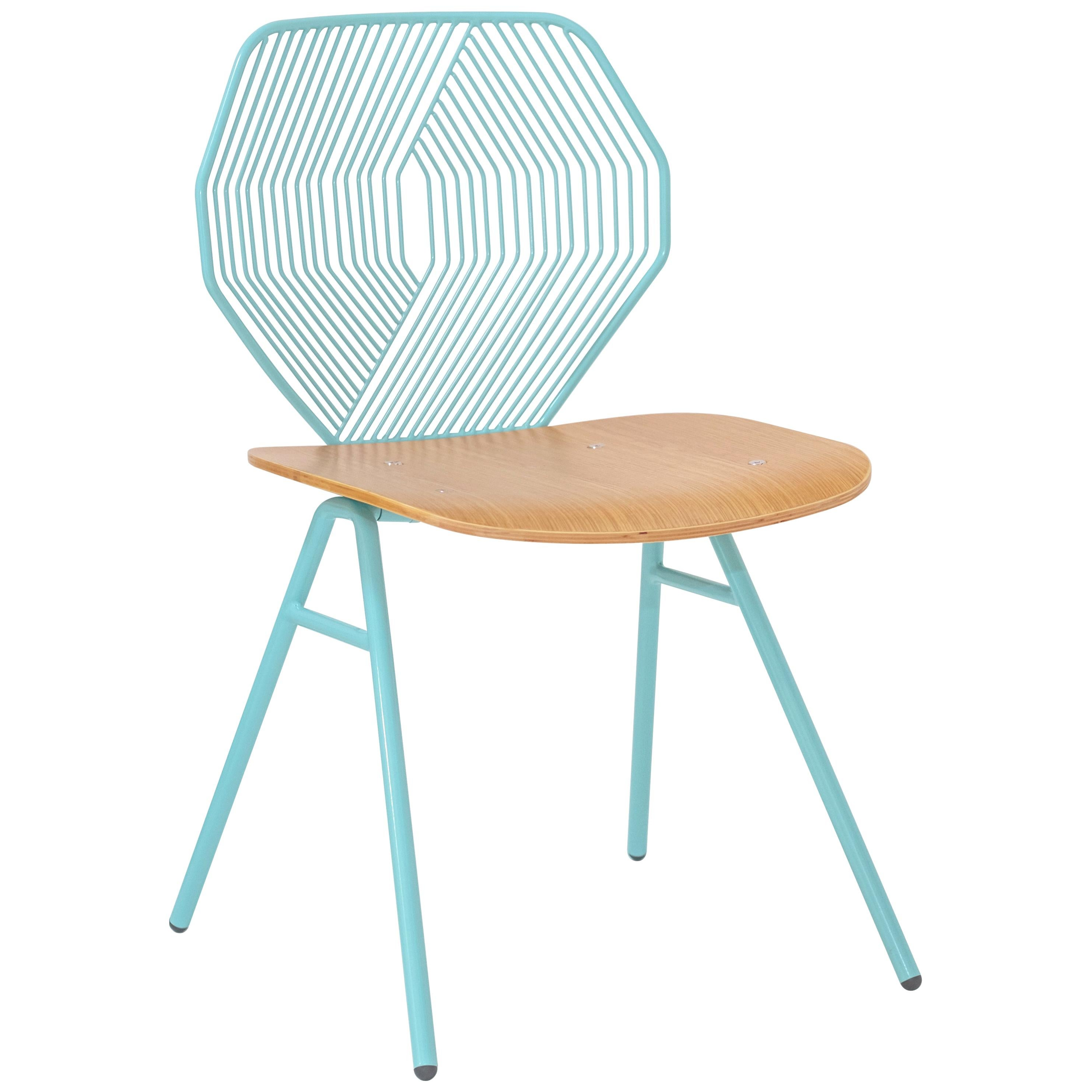 Wood Side Chair, Modern Minimalist Design in Aqua by Bend Goods