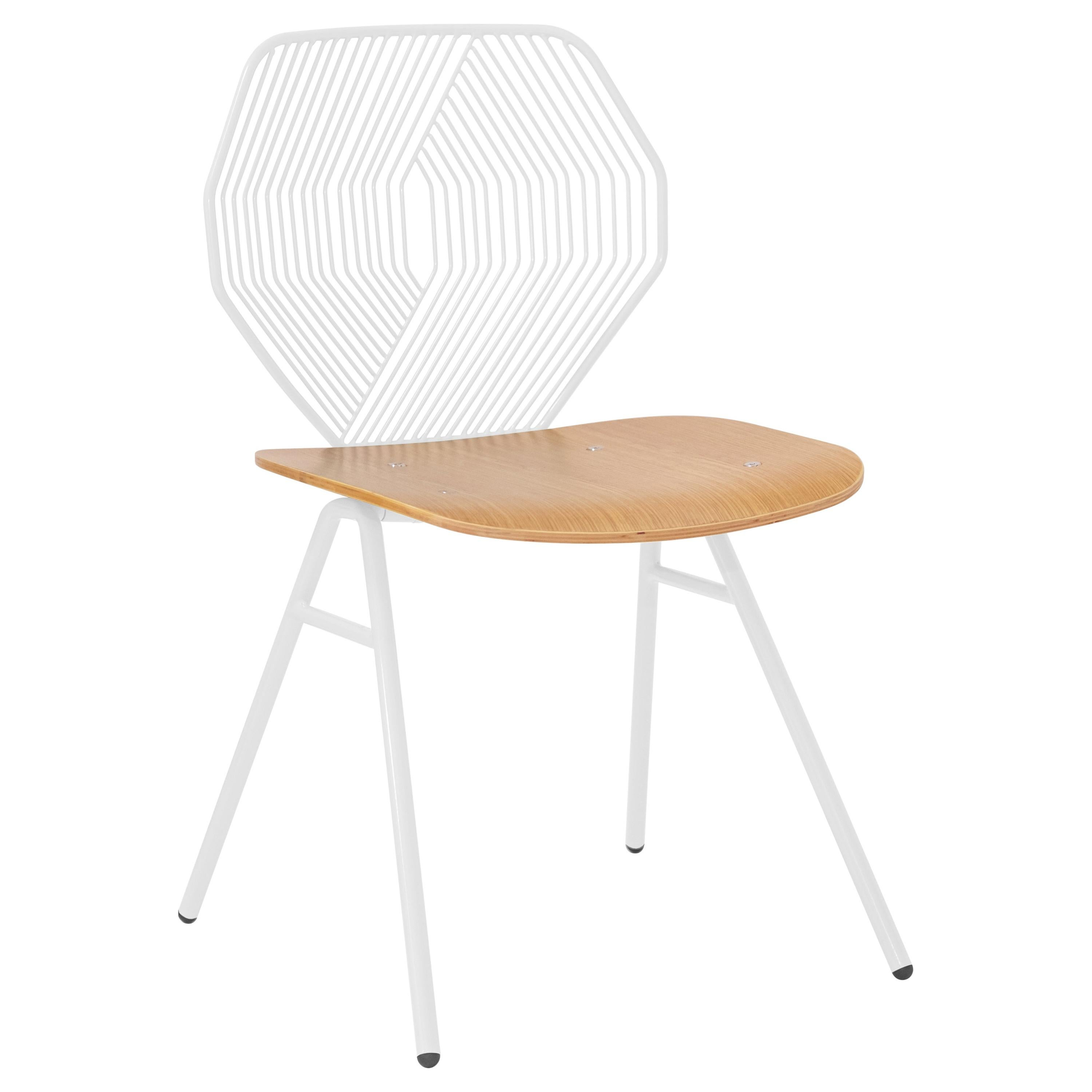 Wood Side Chair, Modern Minimalist Design in White by Bend Goods
