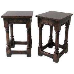 Jacobean Style Wood Side Tables or Stools