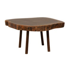 Wood Slab Top Coffee Table, Early 20th Century