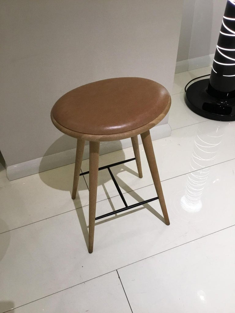 Modern Wood Soaped Oak Bar Stool with Natural Tanned Leather Seat For Sale