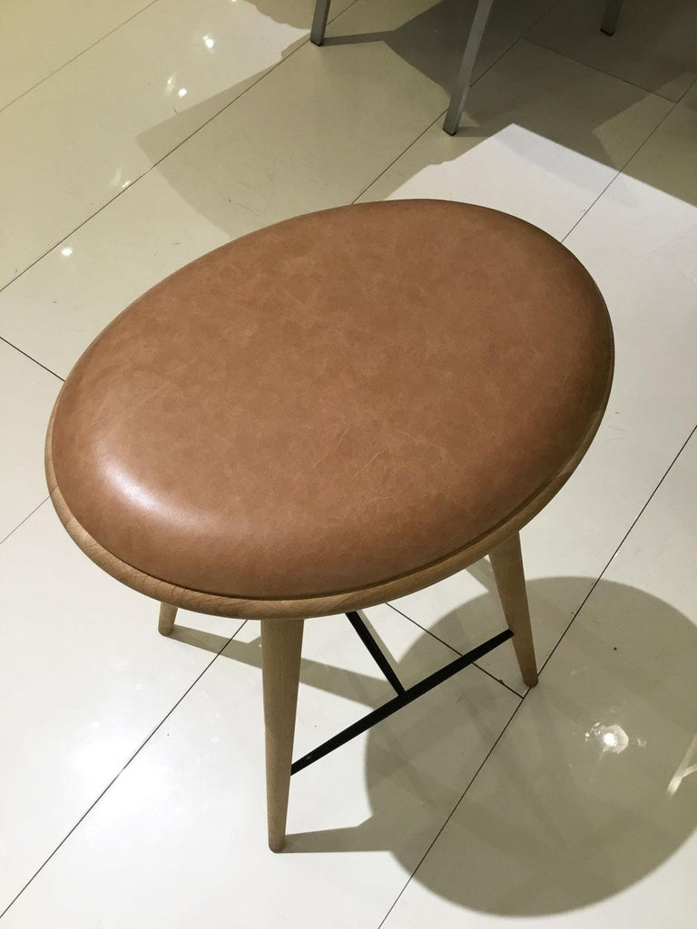 Wood Soaped Oak Bar Stool with Natural Tanned Leather Seat For Sale 1