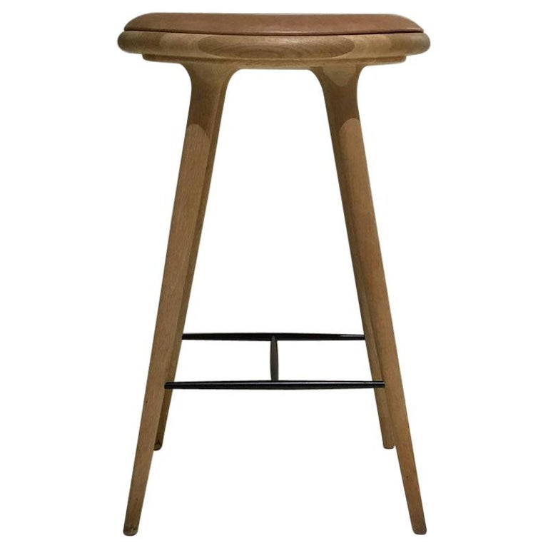 Wood Soaped Oak Bar Stool with Natural Tanned Leather Seat For Sale