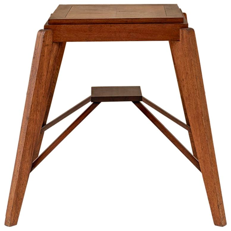 Wood Stool Attributed to Pierre Jeanneret