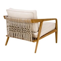 Wood Structure, with Raw Brided 4602rope Detail in the Backrest Suelen Armchair
