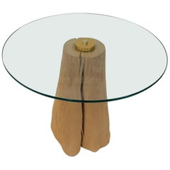 Wood Stump and Glass Side Table by Michele Taylor