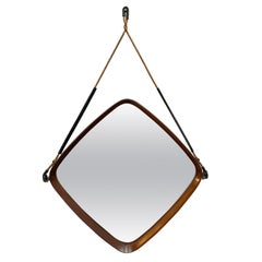Wood Teak and Cord Square Mirror, Italy, 1960s