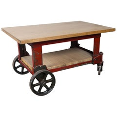 Wood Top Industrial Cart Table