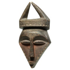 Wood Tribal Eastern Pende Geometric Mask with Horns Ex Museum