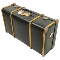 Wood Strapped Suitcase Attributed to Drew and Sons
