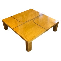 Wood Veneer Structure and Brass Details Coffee Table
