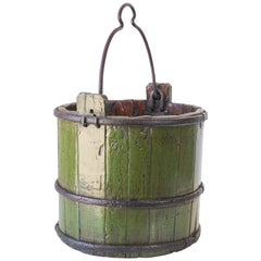 Wood Water Bucket with Wrought Iron Bands