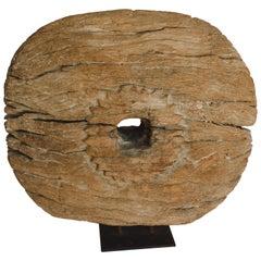 Wood Wheel on Iron Stand