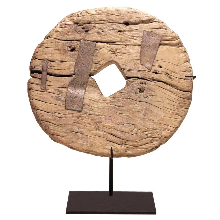Wood Wheel on Stand For Sale