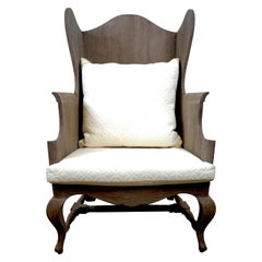 Wood Wing Back Chair with Designer Fabric Upholstery