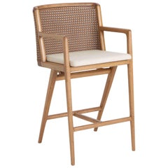 Wood with Straw Detail Counter Stool, Rhea