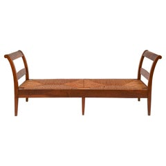 Wood Woven Wicker Large Bench, Daybed, Imported from France, 1950's
