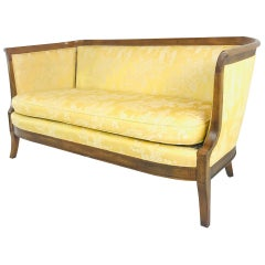 Wood Wrapped Vintage Bernhardt Settee