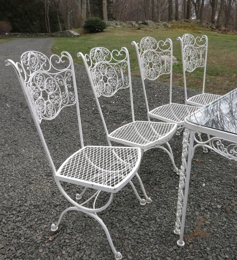 Woodard Andalusian Dining Set Cast Iron Patio Set of Seven Pieces For Sale 4