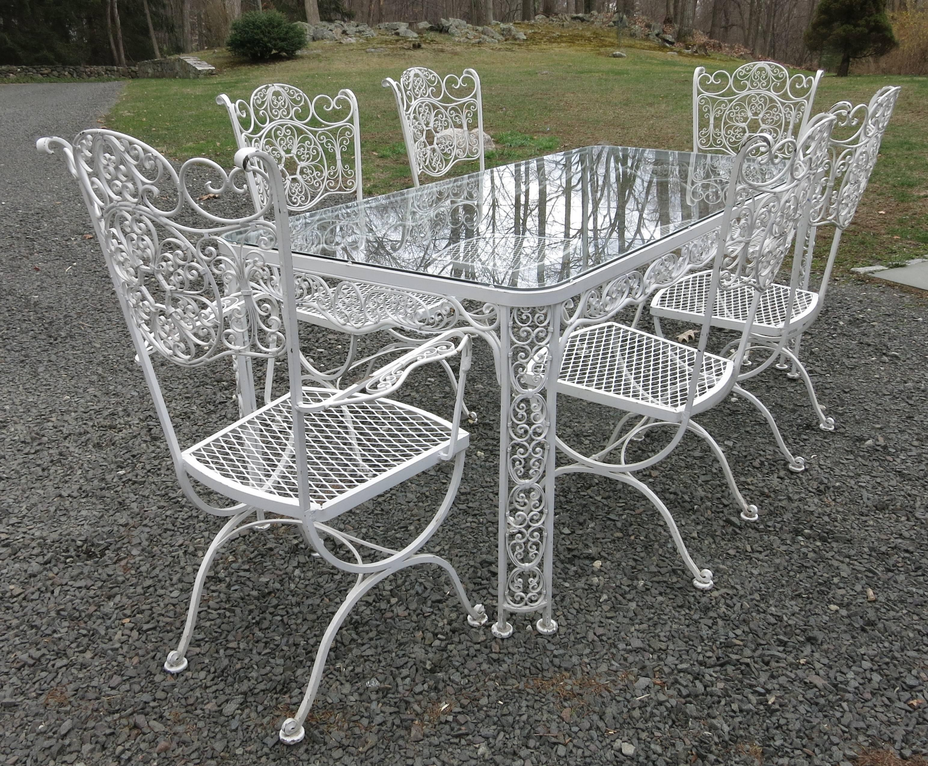 Genial Woodard Andalusian Dining Set Cast Iron Patio Set Of Seven Pieces