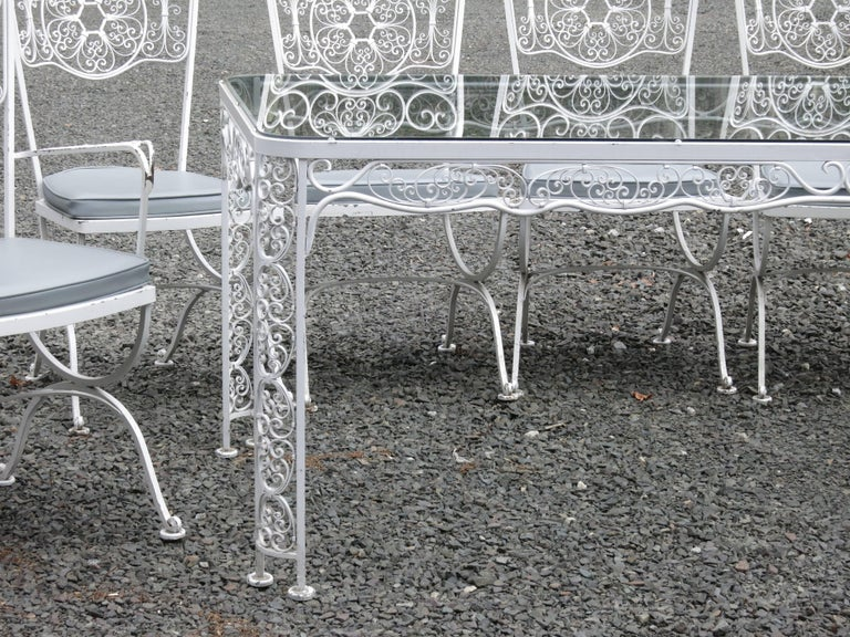 Spanish Colonial Woodard Andalusian Dining Set Cast Iron Patio Set of Seven Pieces For Sale